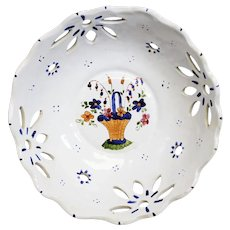 Pierced Ceramic Decorated Bowl Atop a Metal Mount
