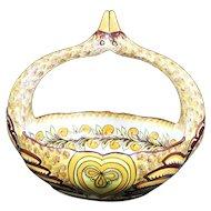 Henriot Quimper Looped Duck Handled Ceramic Bowl