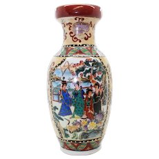 Multi Paneled Chinese Ceramic Vase With Group of Ladies & Garden Scenes