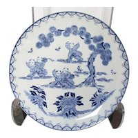 Blue & White - Attractive Blue Chinese Plate - Separate Scenes of Children