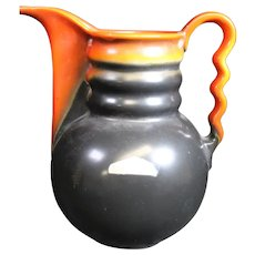 Louis Regout - Mosa Colorful Ceramic Jug or Vase With Wavy Handle.