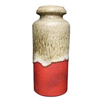 Matte red, Beige and White Tall Vase From Scheurich W. Germany