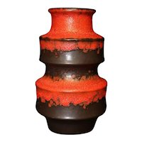 Anthracite Red Stepped Vase From Scheurich W. Germany