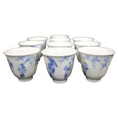 Japanese Antique Cups - Arita - Eggshell Porcelain - Gemerkt 'Zoshuntei Sanpo zo - Meiji Period (1868-1912)