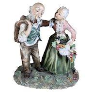 Capodimonte Statue of Elderly Couple - Charming Detail