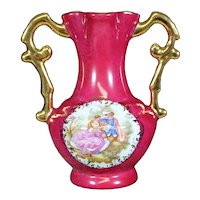 Porcelain Two Handled Red Vase from Limoges