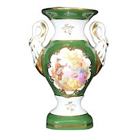 Porcelain Two Handled Green Vase from Limoges
