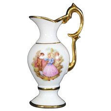 Porcelain Elegant White & Gold Handled Jug from Limoges