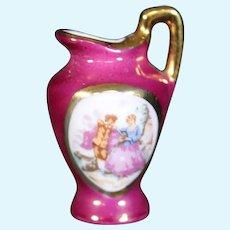 Porcelain Red & Decorated Handled Jug - Limoges Style