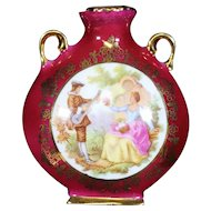 Porcelain Double Handled Red Urn from Limoges