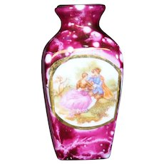 Porcelain Tapered Red Urn from Limoges