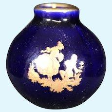 Porcelain Round Blue Vase from Limoges