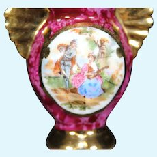 Porcelain Two Curved Handled Ornate Red Vase from Limoges