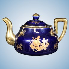 Porcelain Miniature Blue Teapot from Limoges