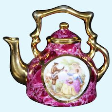 Porcelain Miniature Red Teapot or Kettle from Limoges