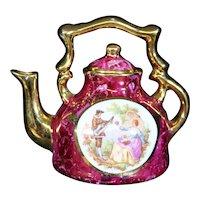 Porcelain Miniature Red Ornate Teapot or Kettle from Limoges