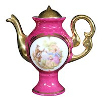 Porcelain Miniature Red Ornate Coffee Pot from Limoges