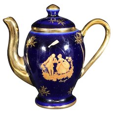 Porcelain Miniature Blue Ornate Coffee Pot from Limoges