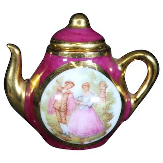 Porcelain Miniature Red Ornate Oval Teapot from Limoges