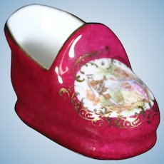 Porcelain Coal Scuttle Shoe In Red From Limoges