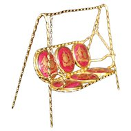 Porcelain Garden Swing In Red From Limoges