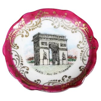Porcelain Miniature Plate - Arc de Triumphe - In Red From Limoges