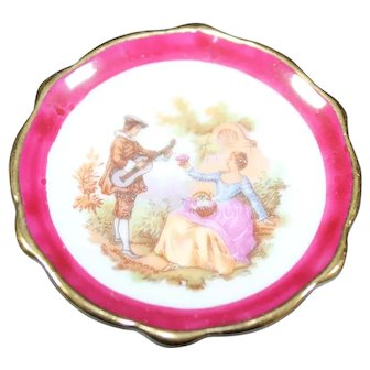 Porcelain Miniature Plate - Serenading Lovers - In Red From Limoges