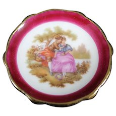 Porcelain Miniature Plate - The Lovers - In Red From Limoges
