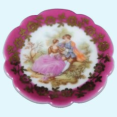 Porcelain Miniature Plate - The Couple - In Red From Limoges