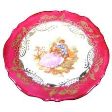 Porcelain Miniature Plate - The Loving Couple - In Red From Limoges