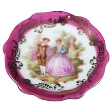 Porcelain Miniature Plate - Let's Dance - In Red From Limoges