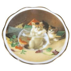 Porcelain Miniature Plate - Playful Cats - From Limoges
