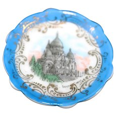 Porcelain Miniature Plate - Sacre Coeur - In Blue From Limoges