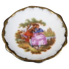 Porcelain Miniature Plate - The Couple - In White & Gold From Limoges
