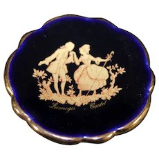 Porcelain Miniature Plate - Silhouette Couple - In Blue & Gold From Limoges