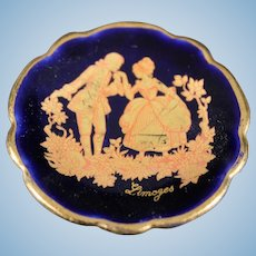 Porcelain Miniature Plate - Invitation To Dance - In Blue & Gold From Limoges