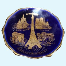 Porcelain Miniature Plate - Paris - In Blue & Gold From Limoges