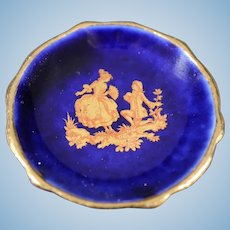 Porcelain Miniature Plate - The Proposal - In Blue & Gold From Limoges