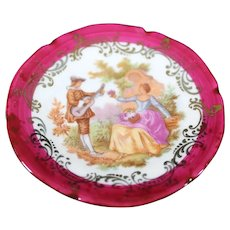 Porcelain Miniature 7cm Plate - The Serenade - In Red From Limoges