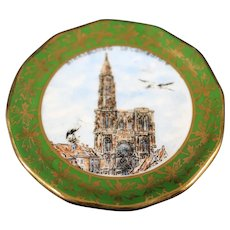 Porcelain Miniature 7cm Plate - Strasbourg Cathedral - In Green From Limoges
