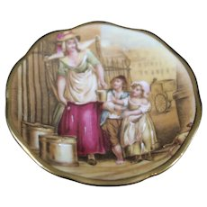 Porcelain Miniature 7cm Plate - Milk for the Children - In Multicolors From Limoges
