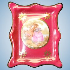 Porcelain Miniature Picture Frame In Red From Limoges