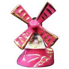 Porcelain Miniature Windmill in Red from Limoges
