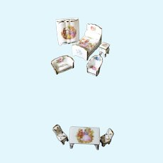Porcelain Miniature 8 Piece Doll Furniture Set - In Multi-colors From Limoges