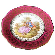 Porcelain 11.5cm Miniature Plate - Serenading - In Red From Limoges