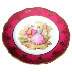 Porcelain 18cm Decor Plate - Dancing Couple - In Red From Limoges