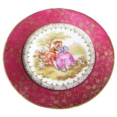 Porcelain 16cm Decor Plate - Caressing Couple - In Red From Limoges