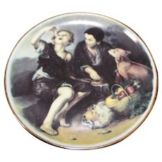 Porcelain Miniature Plate - Boys & Dog - In Dark Colors From Limoges