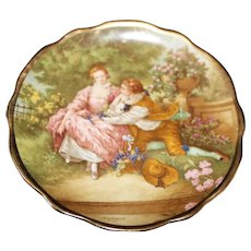 Porcelain Miniature 10cm Plate - The Proposal - In Green From Limoges