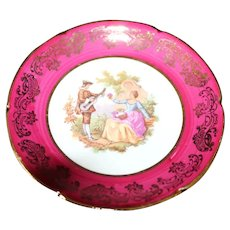 Porcelain 10cm Miniature Plate - Lovers Serenading - In Red From Limoges